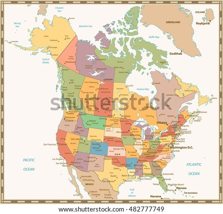 Canada Map Vector Download Free Vector Art Stock Graphics Images - Us and canada vector map