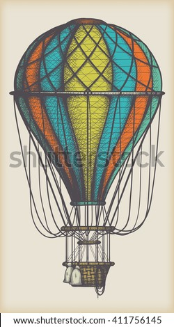 retro colored hot air balloon