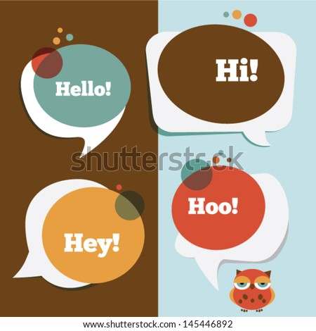 Retro colored speech bubbles and a funny owl