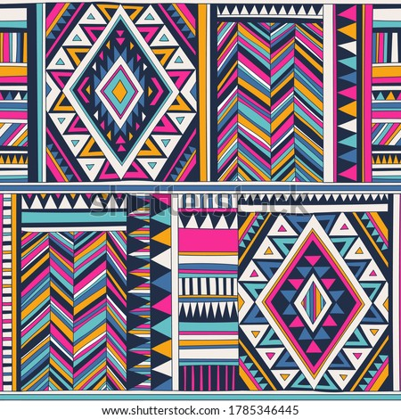 retro colored tribal vector seamless pattern. aztec fancy abstract geometric art print. ethnic hipster background. doodle hand drawn. Wallpaper, cloth design, fabric, tissue, cover, textile template