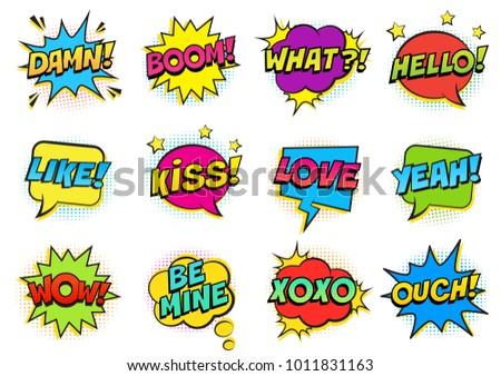 Retro colorful comic speech bubbles set with halftone shadows on white background. Expression text HELLO, YEAH, LOVE, LIKE, WOW, OUCH, DAMN,  BOOM, XOXO, WHAT etc. Vector illustration, pop art style. #1011831163