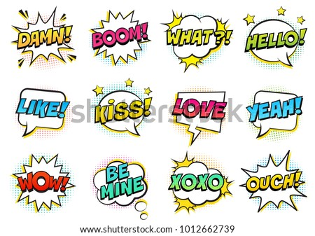 Retro colorful comic speech bubbles set with halftone shadows on white background. Expression text HELLO, YEAH, LOVE, LIKE, WOW, OUCH, DAMN, BOOM, XOXO, WHAT etc. Vector illustration, pop art style. #1012662739