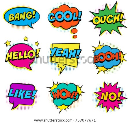 Retro colorful comic speech bubbles set with halftone shadows on white background. Expression text BANG, OUCH, NO, HELLO, YEAH, BOOM, LIKE, COOL, WOW. Vector illustration, pop art style.
