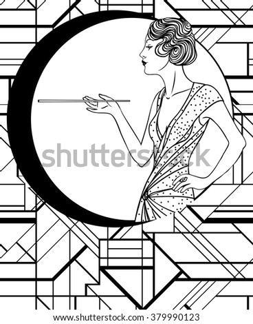 1920s coloring pages for kids | 1920s Flapper Girl - Free Coloring Pages