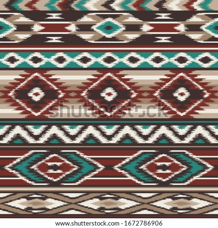 retro colors tribal vector seamless navajo pattern. Embrodery aztec abstract geometric art print. Ethnic vector background. Wallpaper, cloth design, fabric, tissue, cover, cotton, textile template