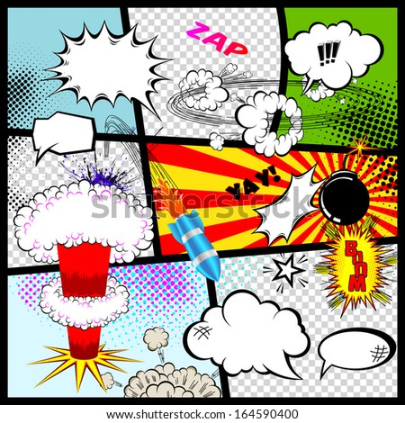 Retro Comic Book Speech Bubbles Vector Design Elements