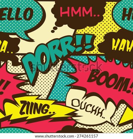 retro comic shout seamless