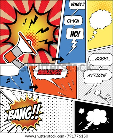 retro comic  speech bubbles set