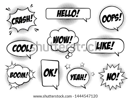 Retro comic speech bubbles set on white background. Expression text BANG, CRASH, NO, HELLO, YEAH, OOPS, LIKE, COOL, WOW, OK. Vector illustration, pop art style.
