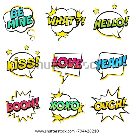 Retro comic speech bubbles set on white background. Expression text BE MINE, WHAT, KISS, HELLO, LOVE, YEAH, BOOM, XOXO, OUCH. Vector illustration, pop art style. #794428210