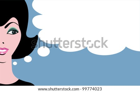 Retro comics woman with thinking bubble