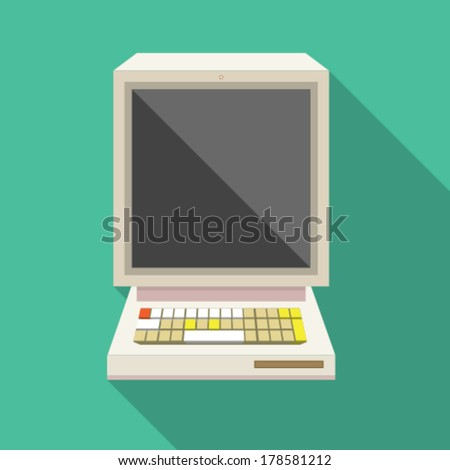 retro computer flat button with