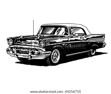 Retro Convertible - Clipart Illustration