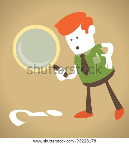 Retro Corporate Guy with magnifying glass.