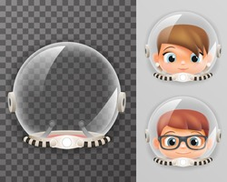 Retro cosmonaut helmet realistic astronaut 3d spaceman boy girl tantamareska transparent class design vector illustration