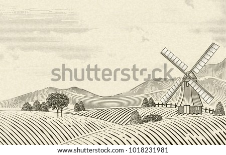 retro countryside scenery