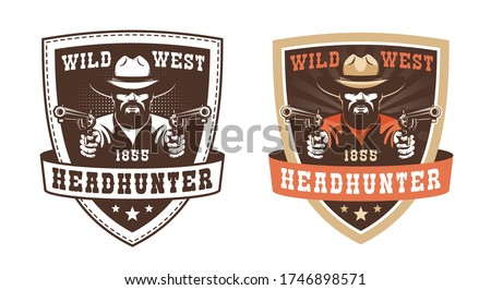 Retro cowboy badge - gunfighter with guns. Vintage western label - ranger with pistols. Wild west patch. vector illustration.