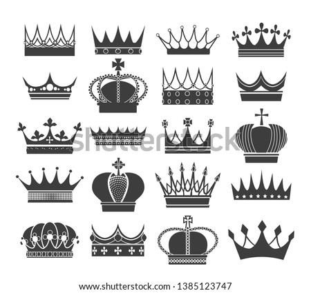 Retro crown silhouettes. Noble antique crowns, vector heritage and royal heraldic symbols isolated on white background