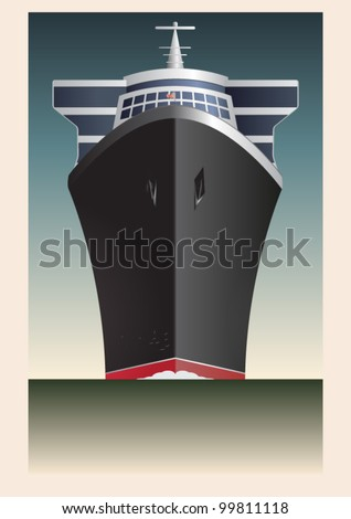 Retro Cruise Ship Vector