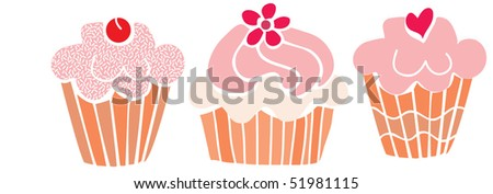 retro cupcakes - stock vector
