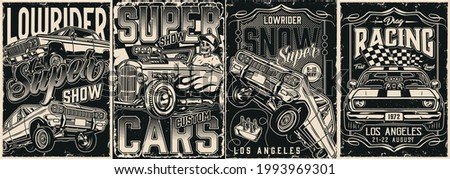 Retro custom cars monochrome posters in vintage style with american lowrider and muscle cars racing checkered flag skeleton in baseball cap driving hot rod with flame decal vector illustration