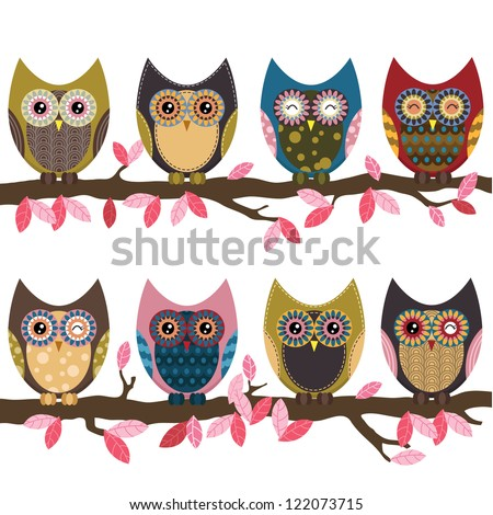 retro cute owl