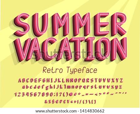 retro 3d alphabet vector