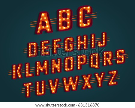 retro 3d alphabet with light