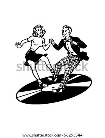 Retro Dancers On A Vinyl Record - Retro Clip Art - stock vector
