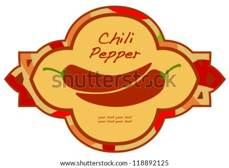 retro darker red pepper label