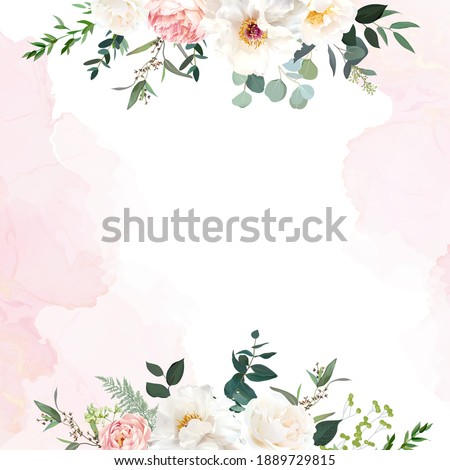 Retro delicate wedding card with pink watercolor texture and flowers. White peony, pink ranunculus, dusty rose, eucalyptus, greenery. Floral vector design frame. Elements are isolated and editable