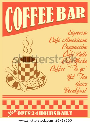 retro design - coffee bar poster or menu cover