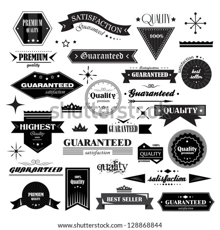 Retro Design Elements. Labels In Retro Style Isolated On White Background. Vector Illustration, Graphic Design Editable For Design. Logo Elements