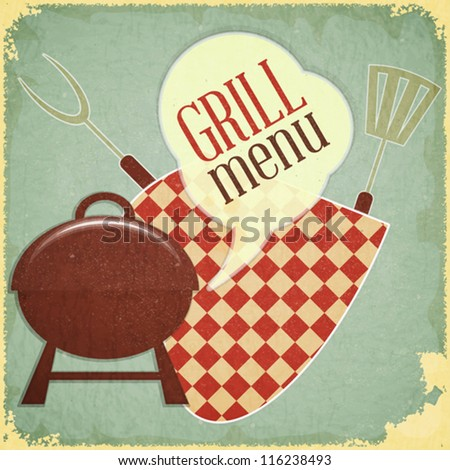 Retro Design Grill and Barbecue Menu - Vector illustration - stock vector