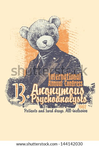 Retro design International Annual Congress Anonymous Psychoanalysts for  poster or t-shirt print with man in a bear mask and textures. vector illustration. grunge effect in separate layer.