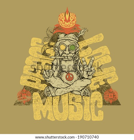Retro design of Peace Love and Music for poster or t-shirt print with old hippie smokes marijuana and shows the peace symbol and hand-written fonts vector illustration