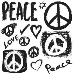 Retro design of Peace, Love and Music, vector design element