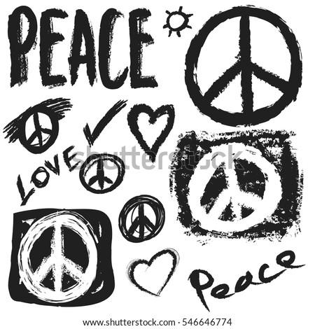 retro design of peace  love and