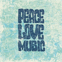 Retro design of Peace, Love and Music with hand-written fonts, hand-drawn doodle background and textures. vector illustration. grunge effect in separate layer.