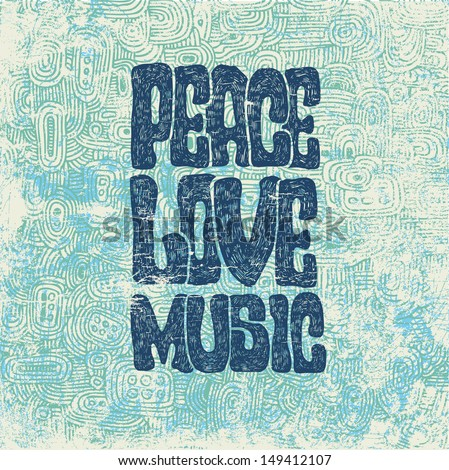 retro design of peace  love and