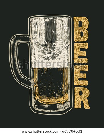 Retro design poster Beer, with Mug Of Beer. typographical background.  Hand Drawn Design Element Engraving Style. Vector Illustration.