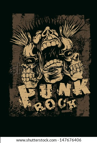 Retro design Punk Rock for t-shirt print with screaming punk head grunge fonts and textures vector illustration grunge effect in separate layer