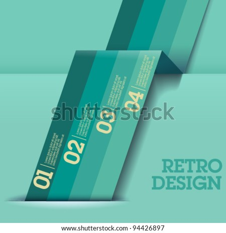 Retro Design template - greenish blue cutout lines / graphic or website layout vector - Suitable for infographics