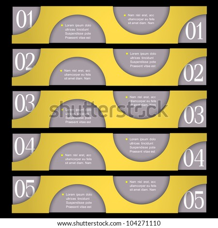 Retro Design template with circles. Vector paper numbered banners - stock vector