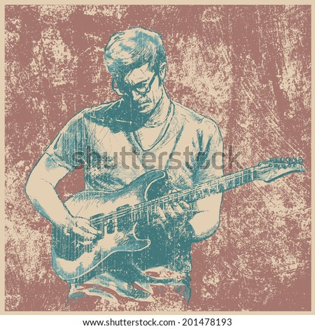 Retro design with guitarist and grunge background. vector illustration. grunge effect in separate layer.