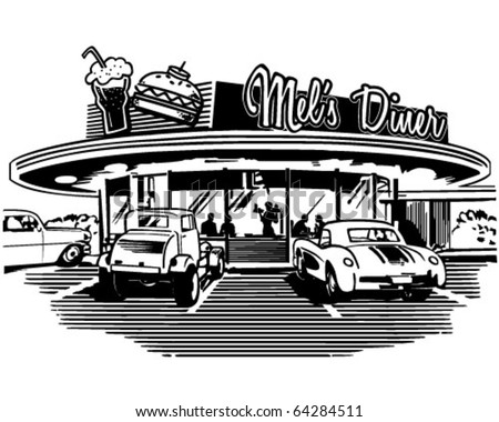 Retro Diner - Retro Clipart Illustration
