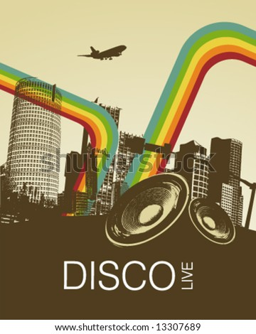Retro Disco Music City Poster