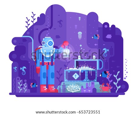retro diver standing on seabed