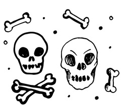 Retro doodle skull, great design for any purposes.vector set of isolated skull heads and bones with a pattern of dots. hand drawn doodle style skull and crossbones with black line on white background