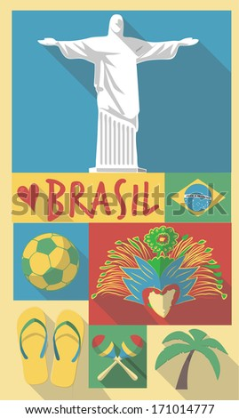 Retro Drawing of Brazil Sao Paulo Cultural Symbols on a Poster and Postcard